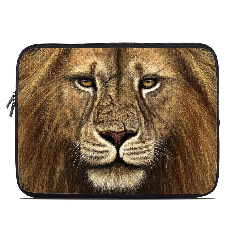 Laptop Sleeve design of Mammal, Wildlife, Vertebrate, Lion, Hair, Terrestrial animal, Masai lion, Felidae, Whiskers, Face with black, red, green, gray colors