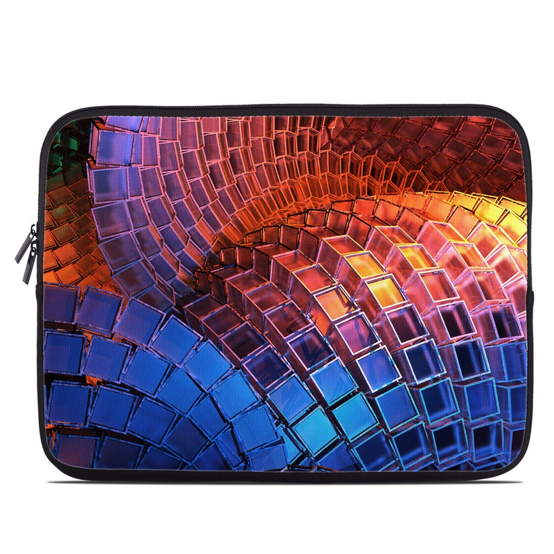 Laptop Sleeve design of Blue, Red, Orange, Light, Pattern, Architecture, Design, Fractal art, Colorfulness, Psychedelic art with black, red, blue, purple, gray colors