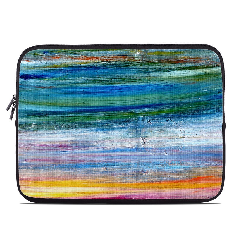 Laptop Sleeve design of Sky, Painting, Acrylic paint, Modern art, Watercolor paint, Art, Horizon, Paint, Visual arts, Wave with gray, blue, red, black, pink colors