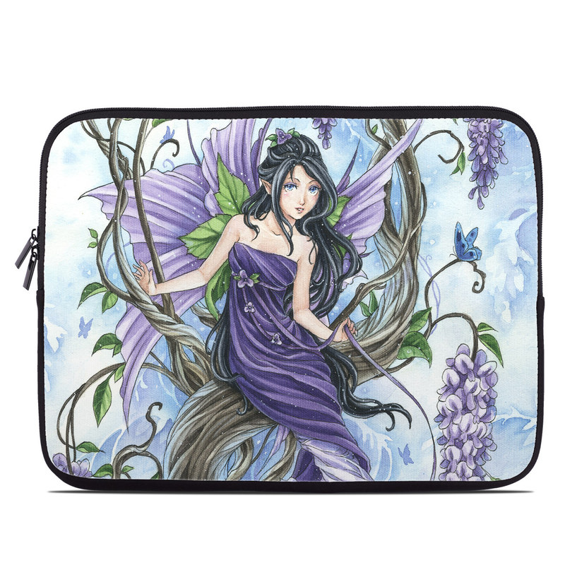 Laptop Sleeve design of Cg artwork, Fictional character, Purple, Illustration, Plant, Anime, Mythical creature, Art, Mythology with gray, black, purple, blue, white colors
