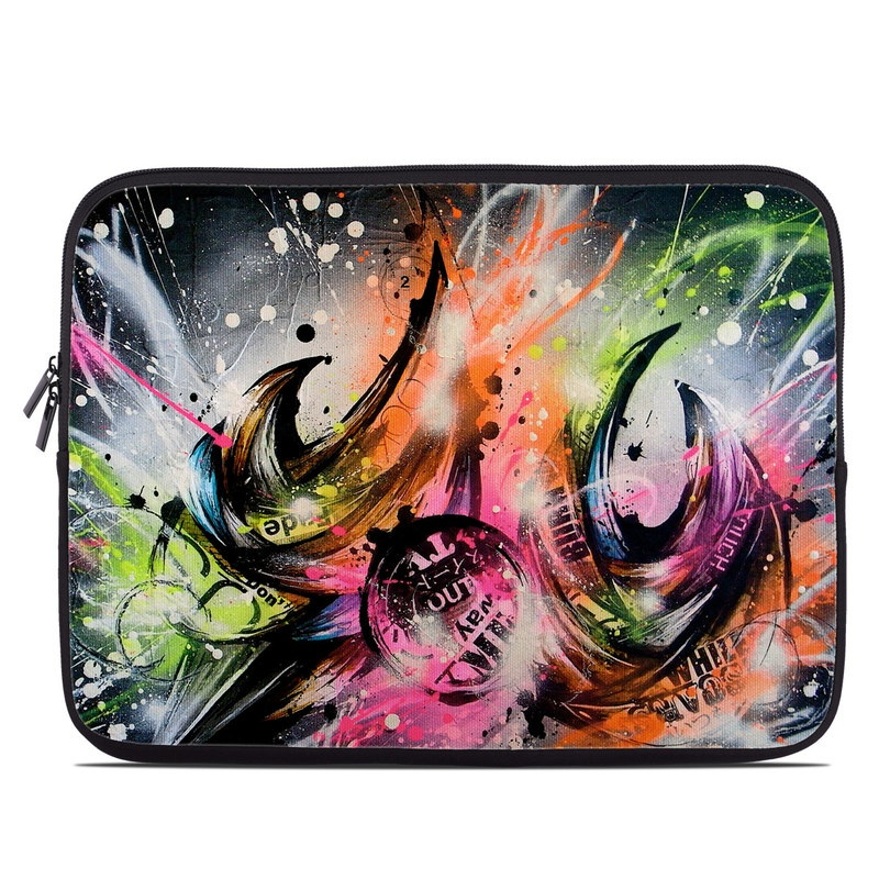Laptop Sleeve design of Graphic design, Fractal art, Art, Illustration, Design, Graphics, Cg artwork, Font, Visual arts, Pattern with black, gray, red, green, purple, blue colors