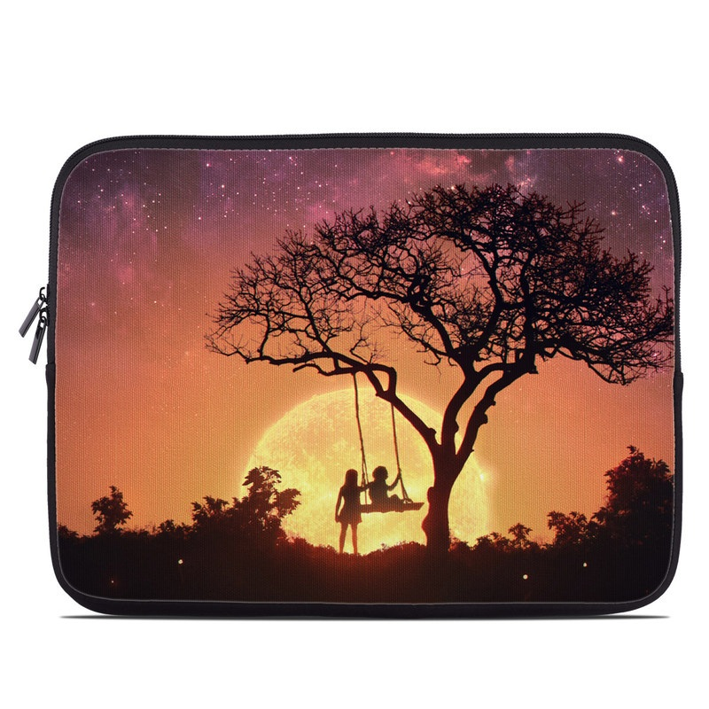Laptop Sleeve design of Sky, Nature, Tree, Natural landscape, Atmospheric phenomenon, Atmosphere, Night, Cloud, Woody plant, Horizon with black, orange, yellow, red colors