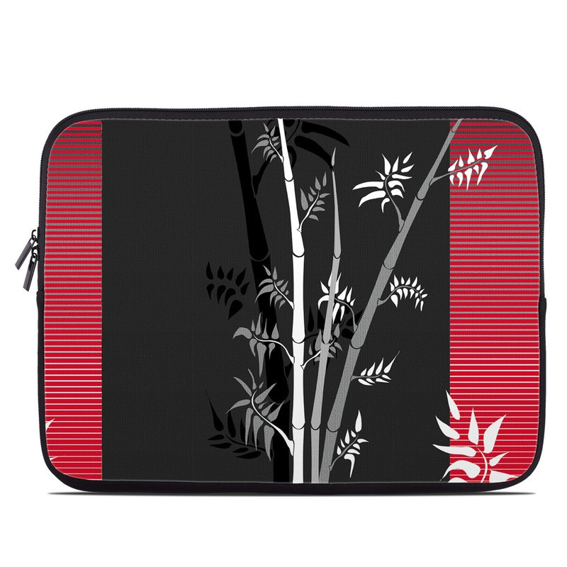 Laptop Sleeve design of Tree, Branch, Plant, Graphic design, Bamboo, Illustration, Plant stem, Black-and-white with black, red, gray, white colors