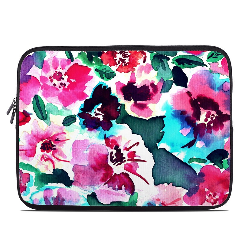 Laptop Sleeve design of Flower, Pink, Petal, Plant, Pattern, Hawaiian hibiscus, Design, Magenta, Flowering plant, Watercolor paint with white, pink, blue, green, red colors