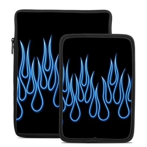 Blue Neon Flames Tablet Sleeve