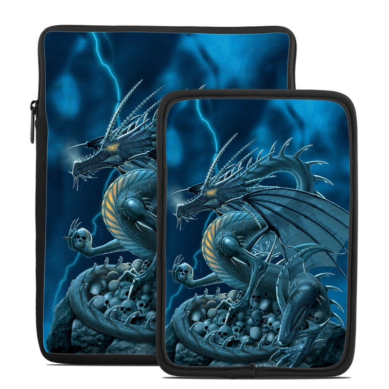 Tablet Sleeve design of Cg artwork, Dragon, Mythology, Fictional character, Illustration, Mythical creature, Art, Demon with blue, yellow colors
