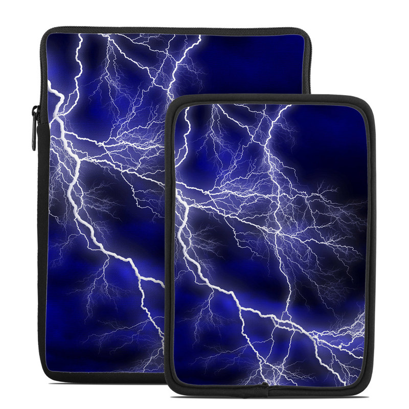 Tablet Sleeve design of Thunder, Lightning, Thunderstorm, Sky, Nature, Electric blue, Atmosphere, Daytime, Blue, Atmospheric phenomenon with blue, black, white colors
