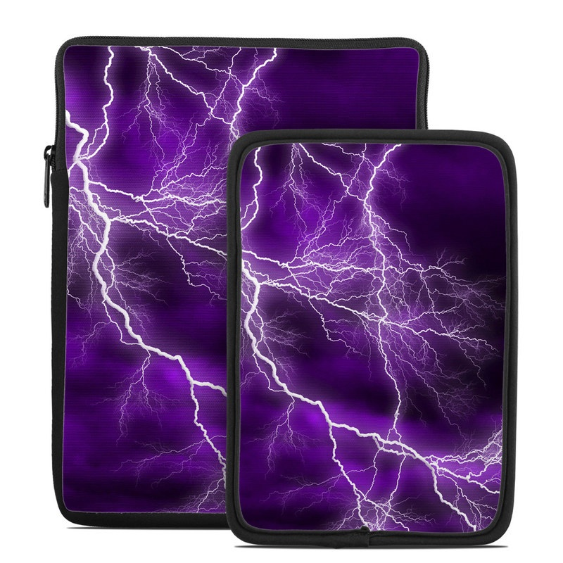 Tablet Sleeve design of Thunder, Lightning, Thunderstorm, Sky, Nature, Purple, Violet, Atmosphere, Storm, Electric blue with purple, black, white colors