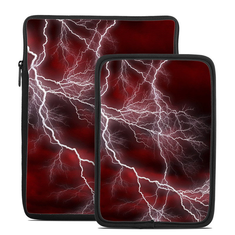 Tablet Sleeve design of Thunder, Thunderstorm, Lightning, Red, Nature, Sky, Atmosphere, Geological phenomenon, Lighting, Atmospheric phenomenon with red, black, white colors