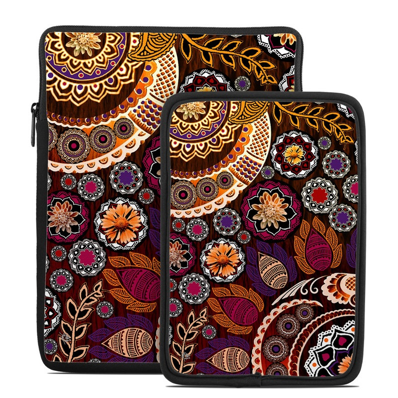 Tablet Sleeve design of Pattern, Motif, Visual arts, Design, Art, Floral design, Textile, Paisley, Tapestry, Circle with brown, purple, red, white, black colors