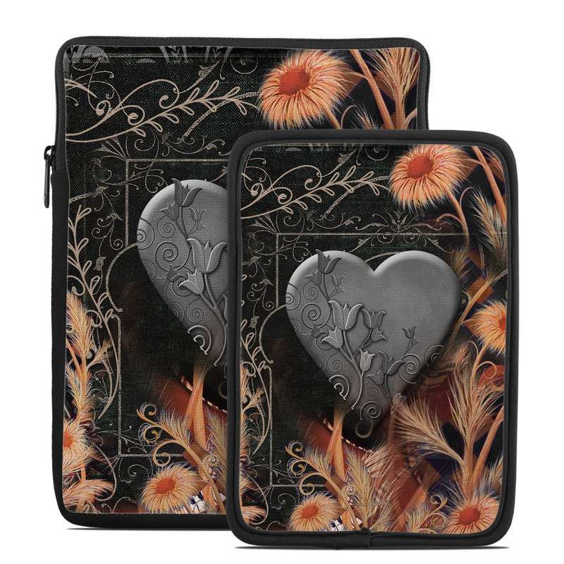 Tablet Sleeve design of Heart, Organ, Love, Art, Illustration with black, gray, orange colors