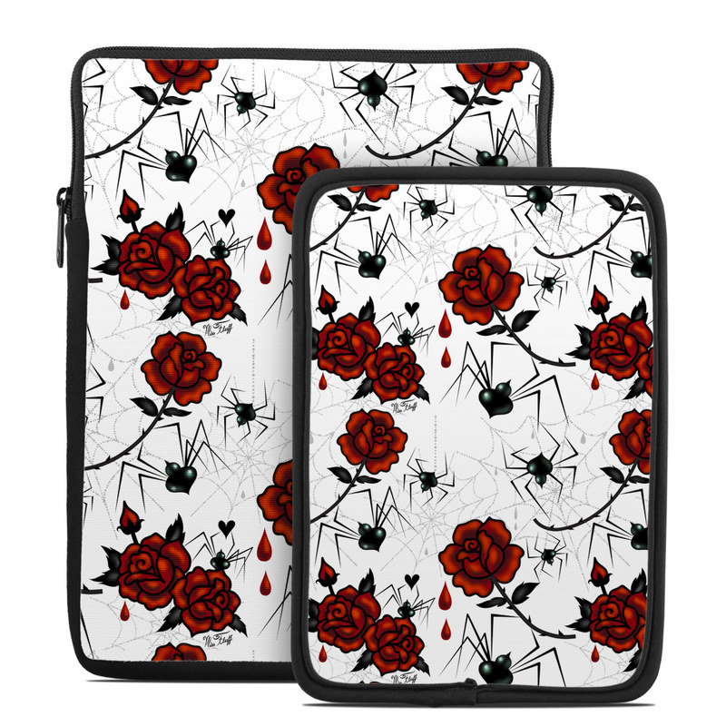 Tablet Sleeve design of Red, Pattern, Flower, Plant, Design, Floral design, Petal, Coquelicot, Wildflower, Rose with black, white, red colors