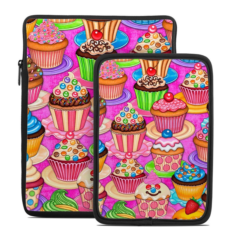 Tablet Sleeve design of Cupcake, Baking cup, Icing, Baking, Cake decorating, Dessert, Cake, Cake decorating supply, Food, Sweetness with pink, green, blue, orange, yellow, brown colors