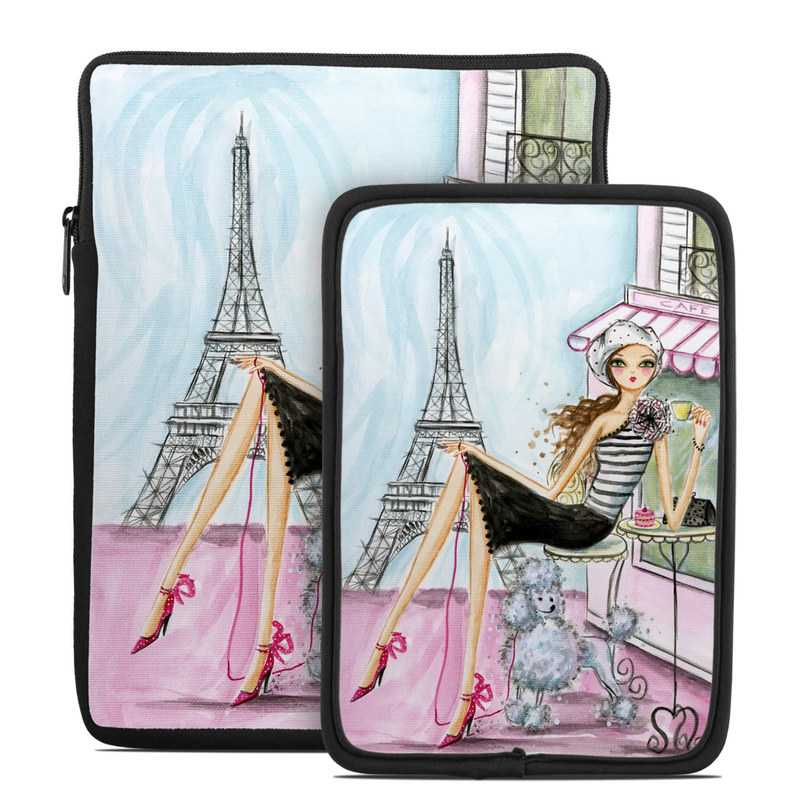 Tablet Sleeve design of Pink, Illustration, Sitting, Konghou, Watercolor paint, Fashion illustration, Art, Drawing, Style with gray, purple, blue, black, pink colors