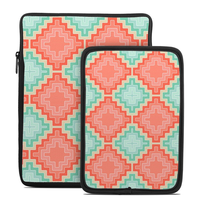 Tablet Sleeve design of Pattern, Aqua, Orange, Green, Turquoise, Teal, Design, Textile, Symmetry with gray, pink, red, orange colors