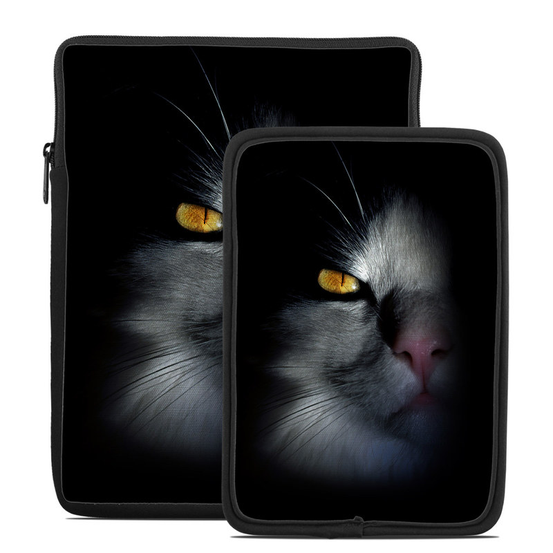 Tablet Sleeve design of Cat, Whiskers, Small to medium-sized cats, Felidae, Black, Nose, Darkness, Snout, Eye, Carnivore with black, gray colors