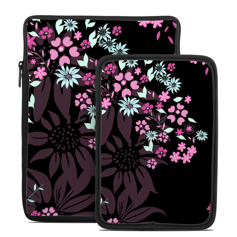 Tablet Sleeve design of Pink, Pattern, Flower, Plant, Botany, Petal, Floral design, Design, Pedicel, Graphic design with black, gray, purple, green, red, pink colors