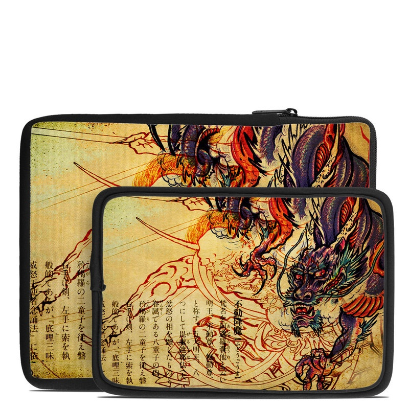 Tablet Sleeve design of Illustration, Fictional character, Art, Demon, Drawing, Visual arts, Dragon, Supernatural creature, Mythical creature, Mythology with black, green, red, gray, pink, orange colors