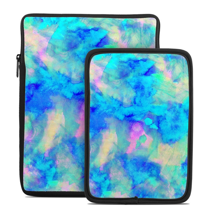 Tablet Sleeve design of Blue, Turquoise, Aqua, Pattern, Dye, Design, Sky, Electric blue, Art, Watercolor paint with blue, purple colors