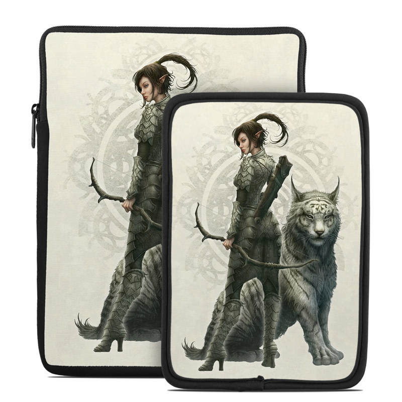 Tablet Sleeve design of Illustration, Fictional character, Drawing, Woman warrior, Art, Mythology, Sketch with gray, black, pink, yellow, green colors