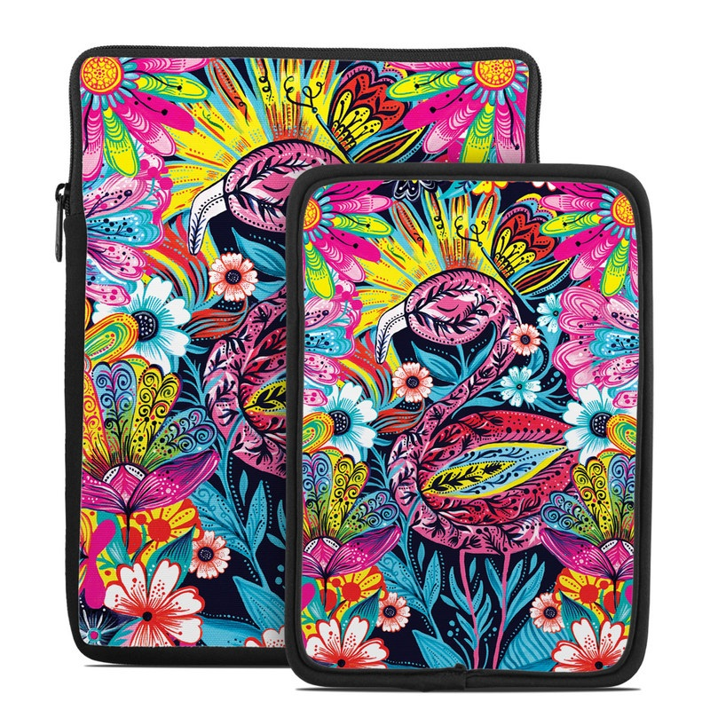 Tablet Sleeve design of Psychedelic art, Pattern, Visual arts, Art, Design, Textile, Illustration, Plant, Graphic design, Drawing with pink, yellow, black, blue, white colors