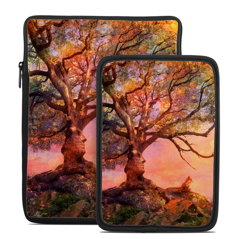 Tablet Sleeve design of Nature, Tree, Sky, Natural landscape, Branch, Leaf, Woody plant, Trunk, Landscape, Plant with pink, red, black, green, gray, orange colors