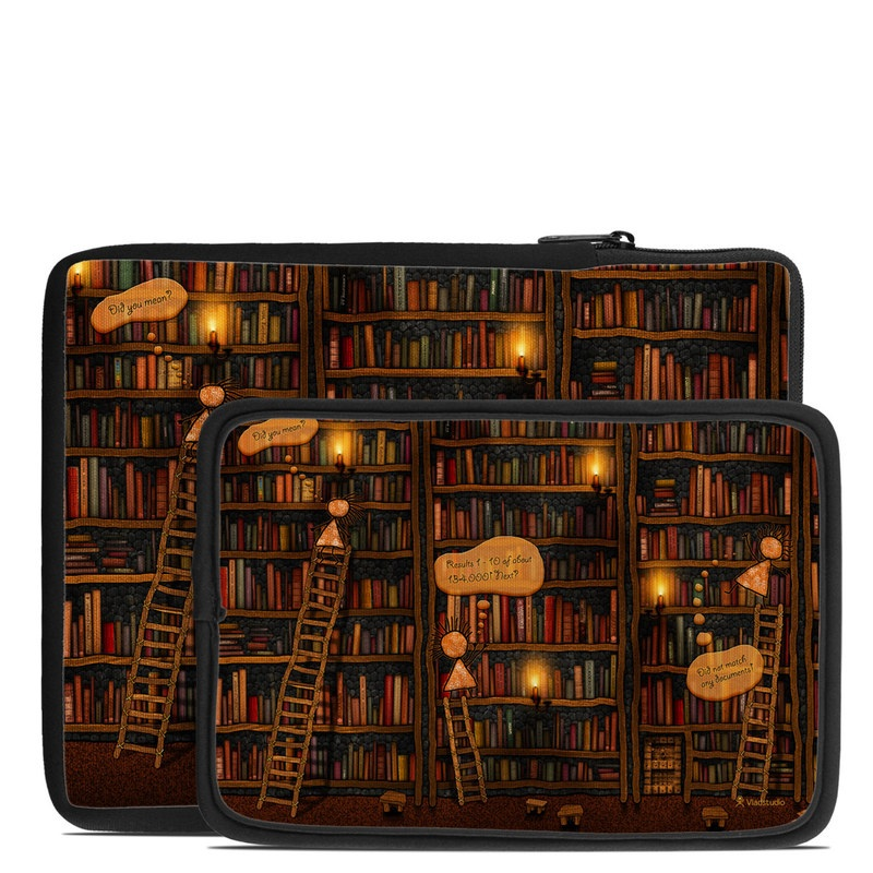 Tablet Sleeve design of Library, Bookcase, Shelving, Shelf, Book, Furniture, Building, Adventure game, Wood, Fiction with black, red colors
