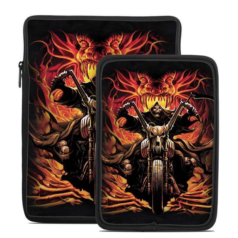 Tablet Sleeve design of Demon, Fictional character, Illustration, Darkness, Supernatural creature, Cg artwork, Fiction, Graphic design, Mythology, Skull with black, red, green, gray colors