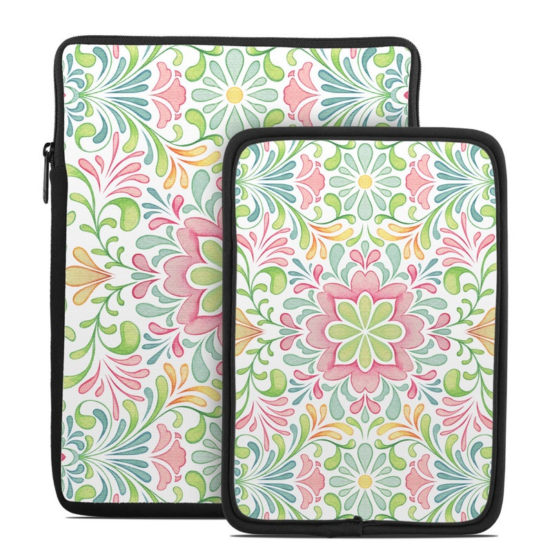 Tablet Sleeve design of Pattern, Pink, Visual arts, Design, Textile, Wrapping paper, Symmetry, Floral design, Motif with gray, white, pink, green colors