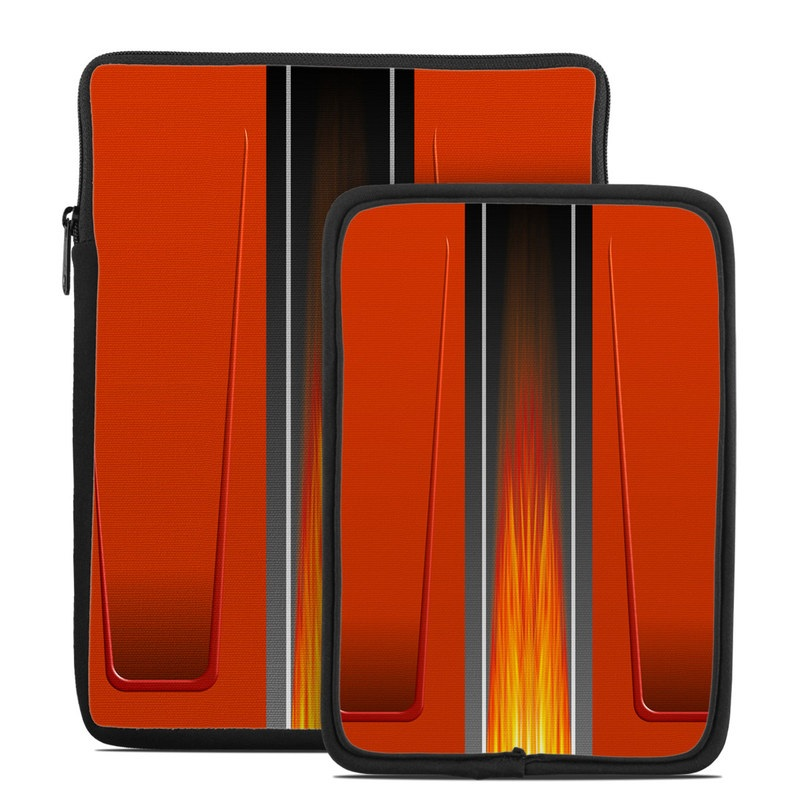 Tablet Sleeve design of Orange, Red, Line, Material property, Rectangle, Automotive lighting with red, black, orange, gray colors