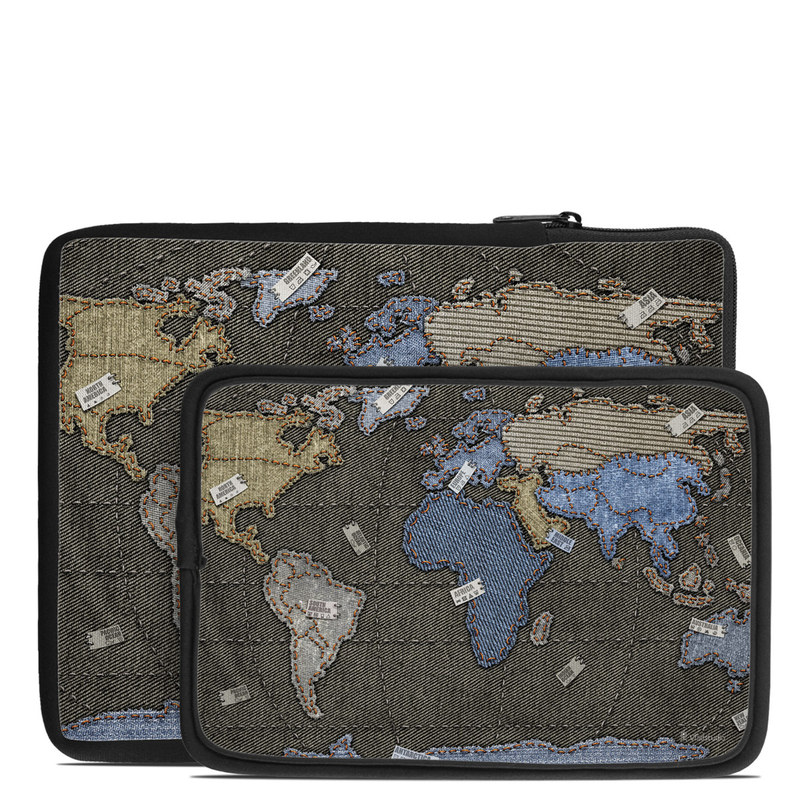 Tablet Sleeve design of World, Map, Pattern, Space with black colors