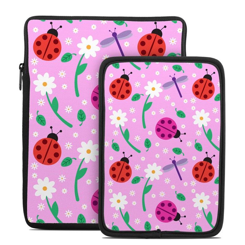 Tablet Sleeve design of Pink, Pattern, Design, Magenta, Clip art, Plant, Visual arts, Ladybug, Child art, Illustration with pink, white, purple, gray, red, blue colors