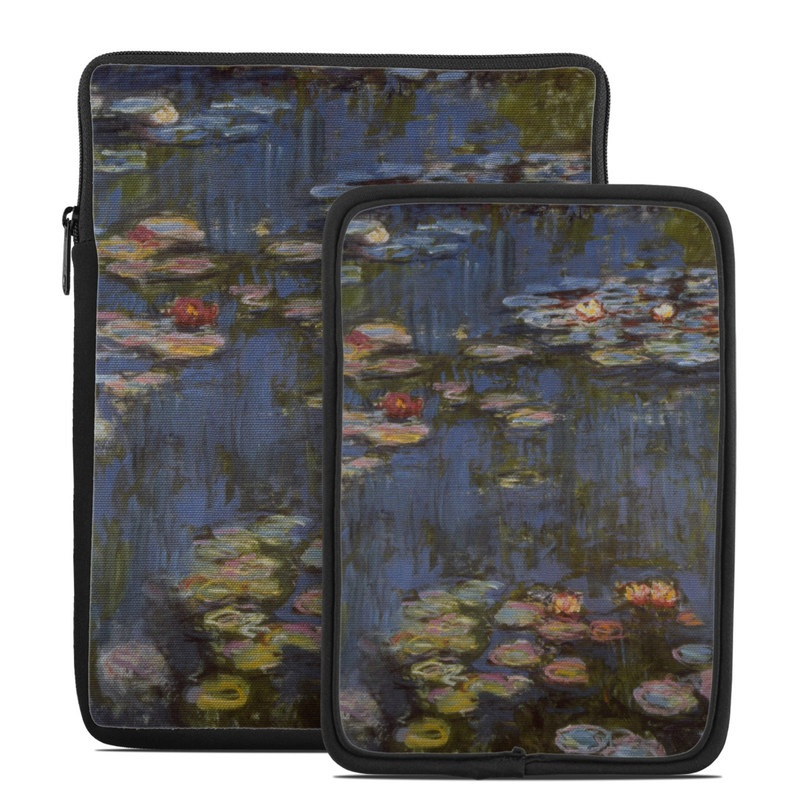 Tablet Sleeve design of Pond, Water, Painting, Watercourse, water lily, Reflection, Aquatic plant, Leaf, Fish pond, Still life with black, blue, gray, red, green colors