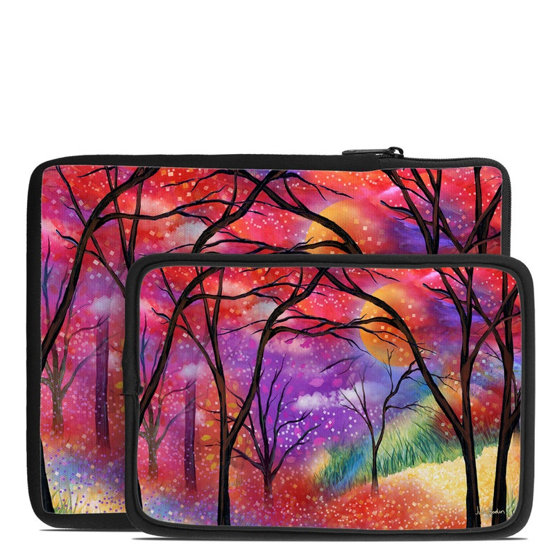 Tablet Sleeve design of Nature, Tree, Natural landscape, Painting, Watercolor paint, Branch, Acrylic paint, Purple, Modern art, Leaf with red, purple, black, gray, green, blue colors