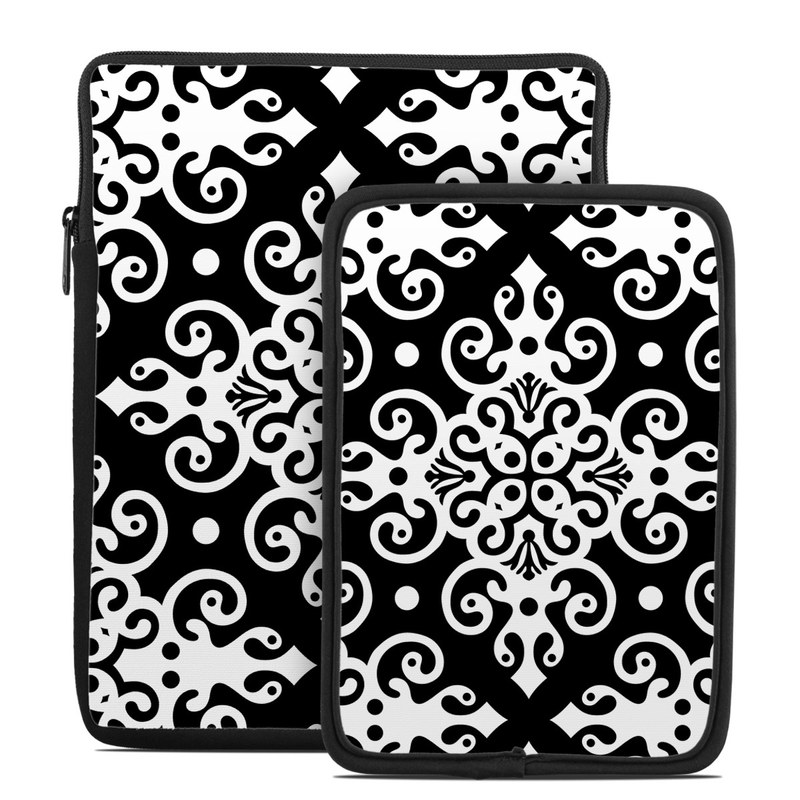 Tablet Sleeve design of Pattern, Line, Black-and-white, Design, Visual arts, Ornament, Monochrome, Textile, Circle with black, white colors