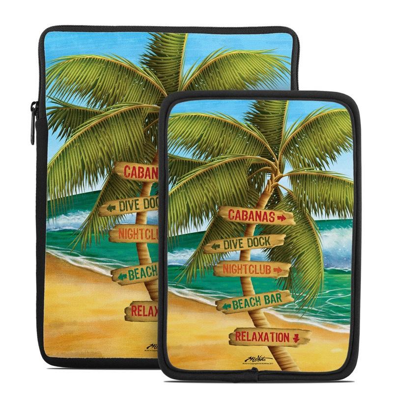 Tablet Sleeve design of Palm tree, Arecales, Tropics, Tree, Caribbean, Wave, Water, Coconut, Ocean, Elaeis with green, purple, gray, black, blue colors