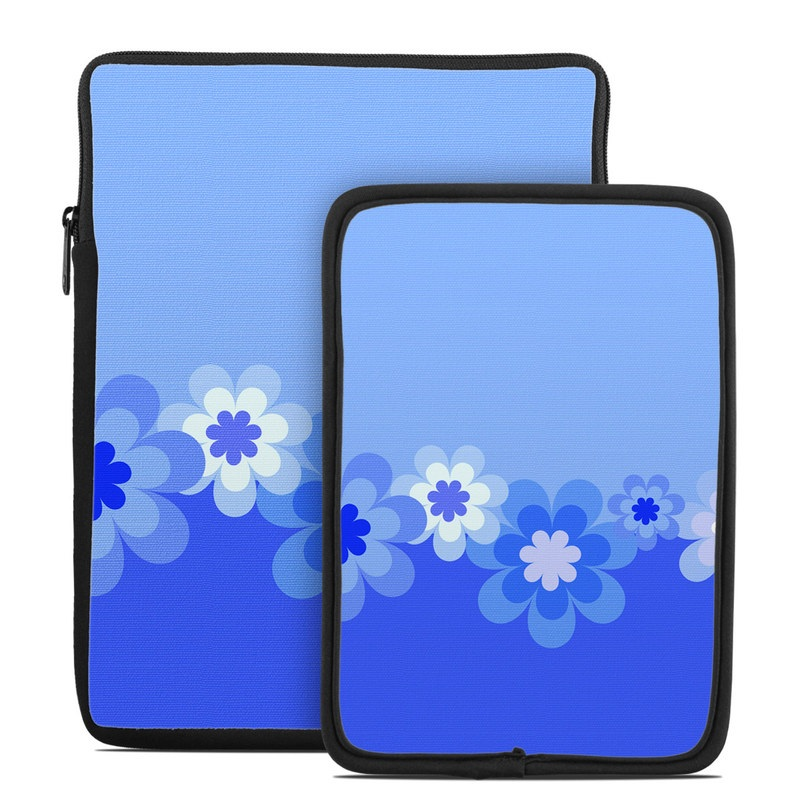 Retro Blue Flowers Tablet Sleeve