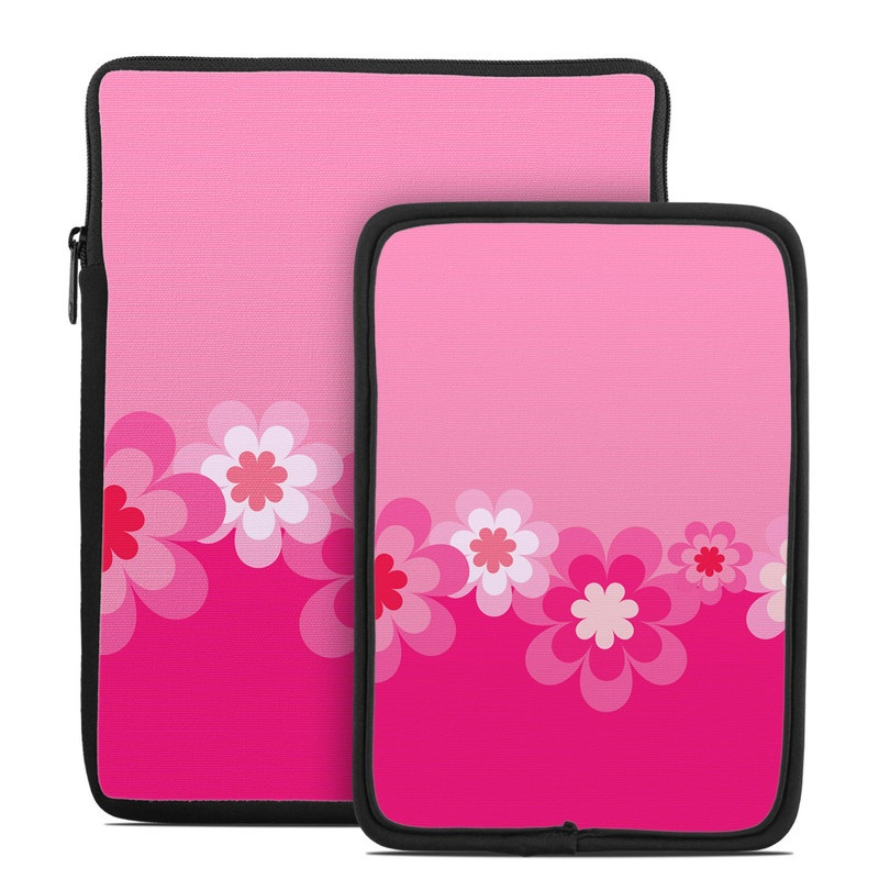 Retro Pink Flowers Tablet Sleeve