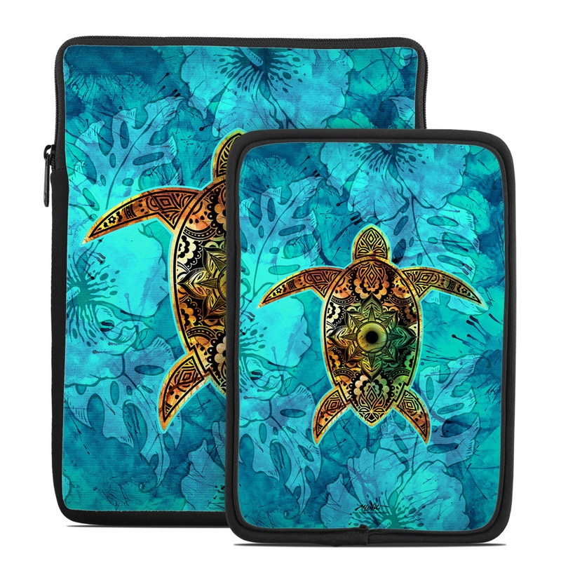 Tablet Sleeve design of Sea turtle, Green sea turtle, Turtle, Hawksbill sea turtle, Tortoise, Reptile, Loggerhead sea turtle, Illustration, Art, Pattern with blue, black, green, gray, red colors