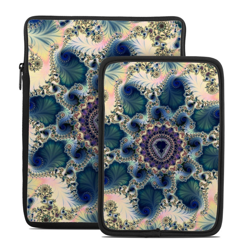 Tablet Sleeve design of Fractal art, Pattern, Blue, Organism, Turquoise, Symmetry, Aqua, Art, Design, Close-up with gray, black, pink, blue, green colors
