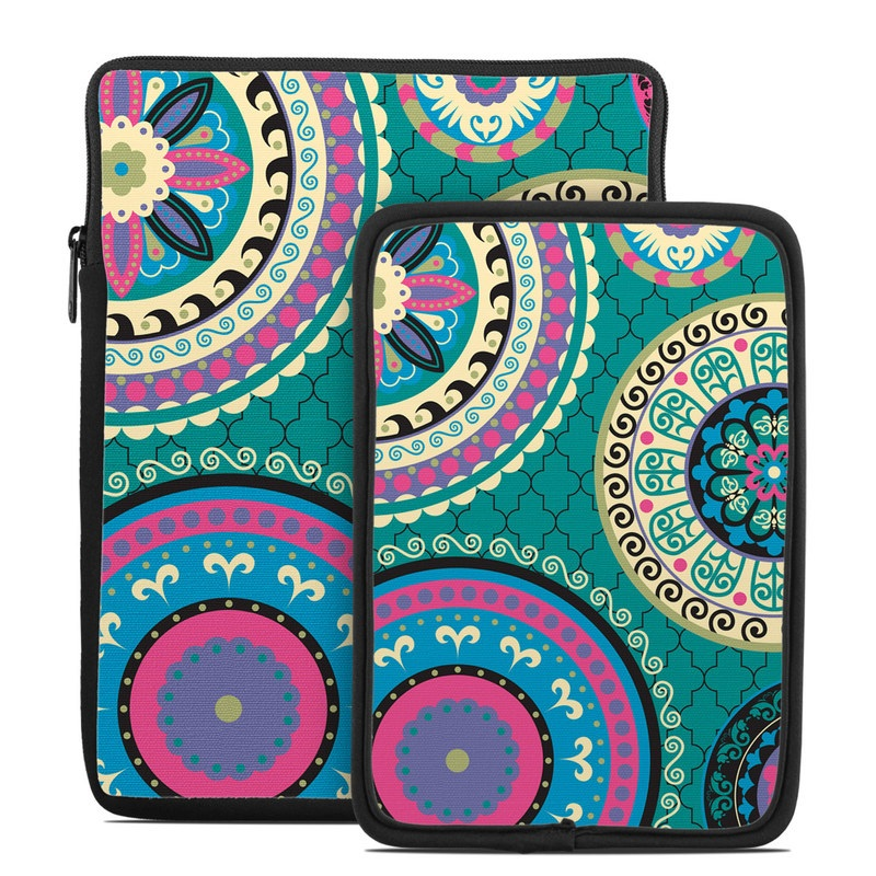 Tablet Sleeve design of Pattern, Turquoise, Teal, Circle, Visual arts, Design, Textile, Motif, Psychedelic art, Paisley with blue, gray, black, purple, pink colors