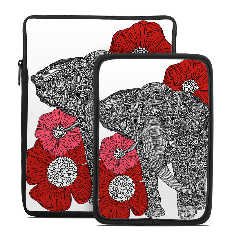 Tablet Sleeve design of Indian elephant, Elephants and Mammoths, African elephant, Line art, Illustration with gray, black, white, red colors