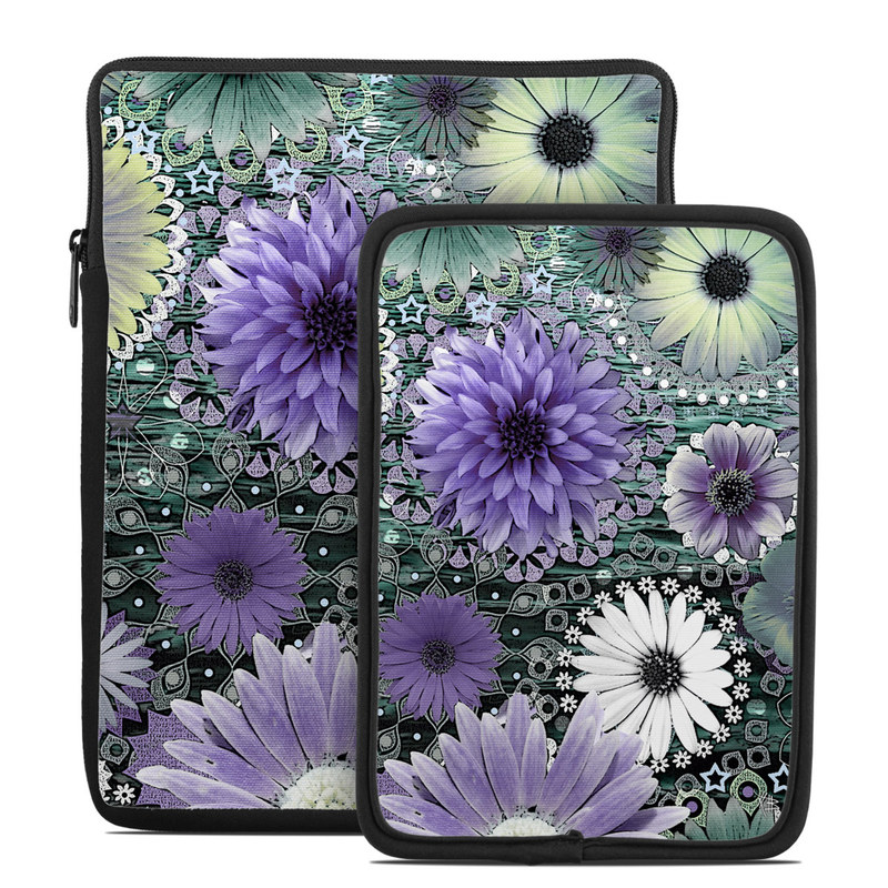 Tablet Sleeve design of Purple, Flower, african daisy, Pericallis, Plant, Violet, Lavender, Botany, Petal, Pattern with gray, black, blue, purple, white colors