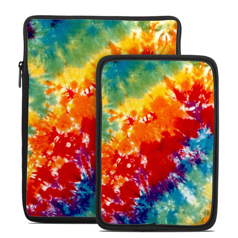Tablet Sleeve design of Orange, Watercolor paint, Sky, Dye, Acrylic paint, Colorfulness, Geological phenomenon, Art, Painting, Organism with red, orange, blue, green, yellow, purple colors
