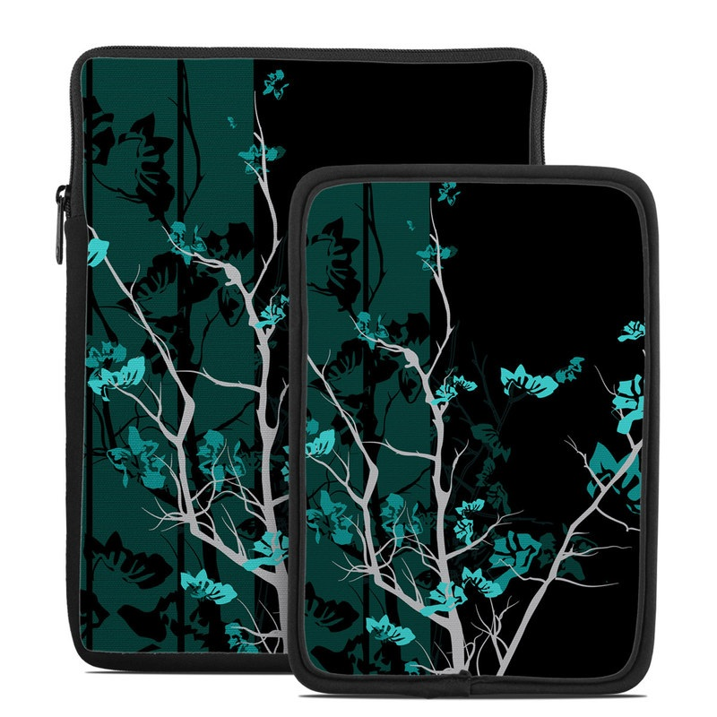 Tablet Sleeve design of Branch, Black, Blue, Green, Turquoise, Teal, Tree, Plant, Graphic design, Twig with black, blue, gray colors