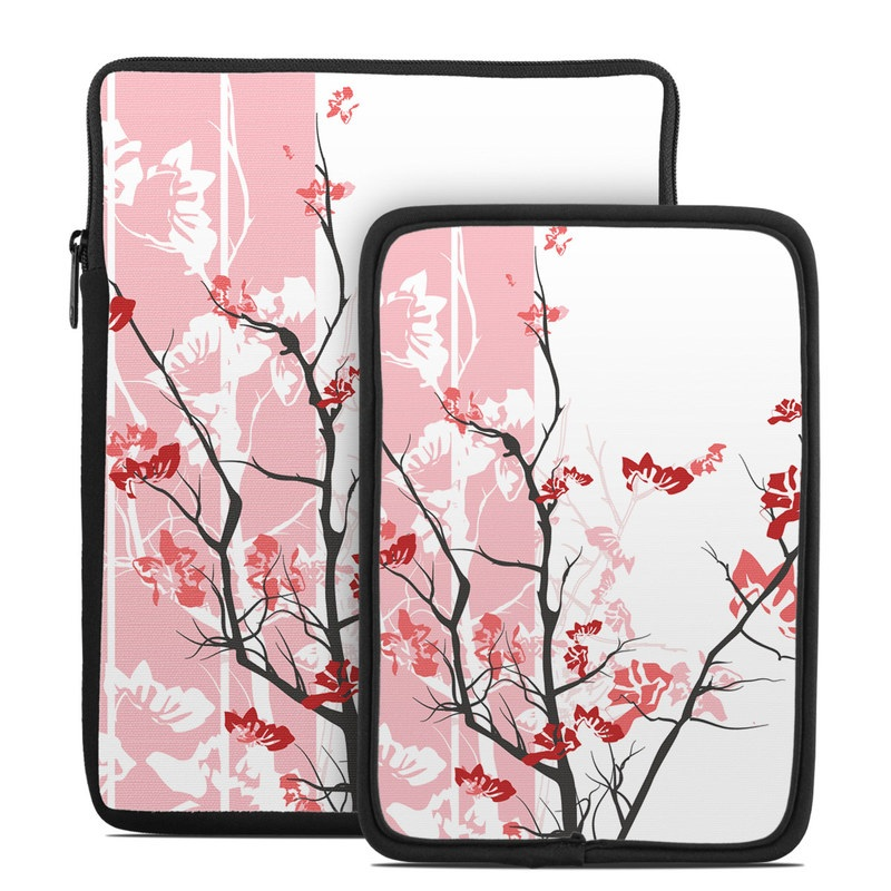Tablet Sleeve design of Branch, Red, Flower, Plant, Tree, Twig, Blossom, Botany, Pink, Spring with white, pink, gray, red, black colors