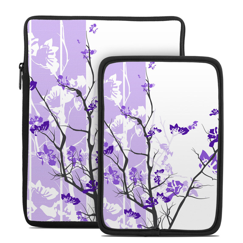Tablet Sleeve design of Branch, Purple, Violet, Lilac, Lavender, Plant, Twig, Flower, Tree, Wildflower with white, purple, gray, pink, black colors