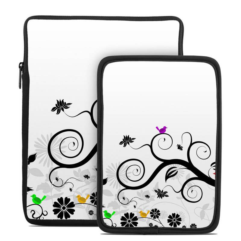 Tablet Sleeve design of Floral design, Clip art, Botany, Branch, Line art, Design, Graphic design, Black-and-white, Ornament, Illustration with white, gray, black colors