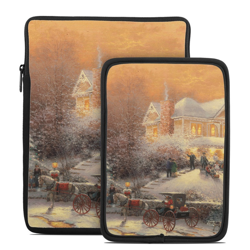 Tablet Sleeve design of Horse and buggy, Watercolor paint, Winter, Carriage, Painting, Vehicle, Visual arts, Art, Snow, Cart with gray, green, black, red colors