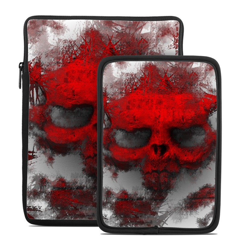 Tablet Sleeve design of Red, Graphic design, Skull, Illustration, Bone, Graphics, Art, Fictional character with red, gray, black, white colors